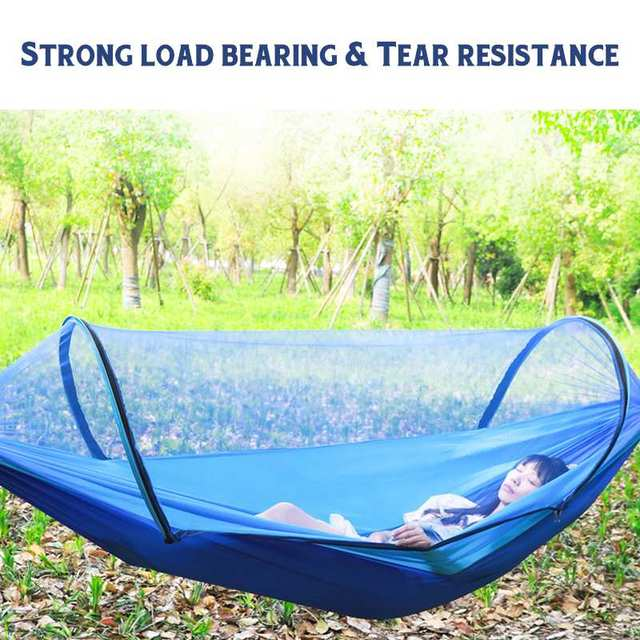 2 Person Portable Outdoor Mosquito Net 260x150cm Parachute Hammock Camping Hanging Sleeping Bed Swing Double Chair Hanging Bed 4