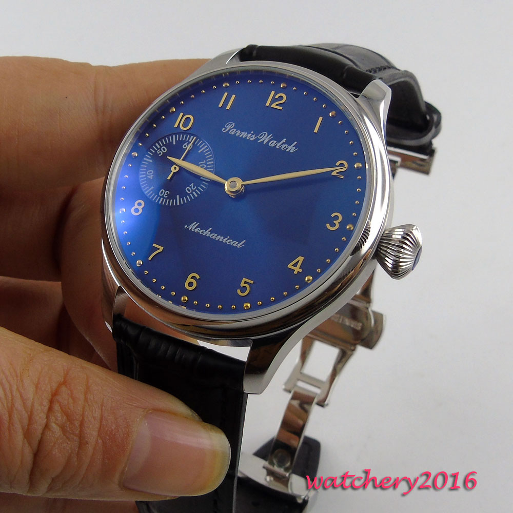 44mm Parnis Blue dial Deployment men's watch of the famous luxury brand 17 jewels 6497 movement Hand Wind Mechanical Men's Watch