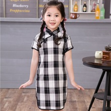 Plaid Girl Dress Cheongsam New Year Gift Children Clothes Kids Dresses Girls clothing Wedding Princess Dress все цены
