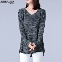 2017 New Autumn Long Sleeve Tshirt Women Tops Sexy T Shirt Femme Plus Size Fat Mm