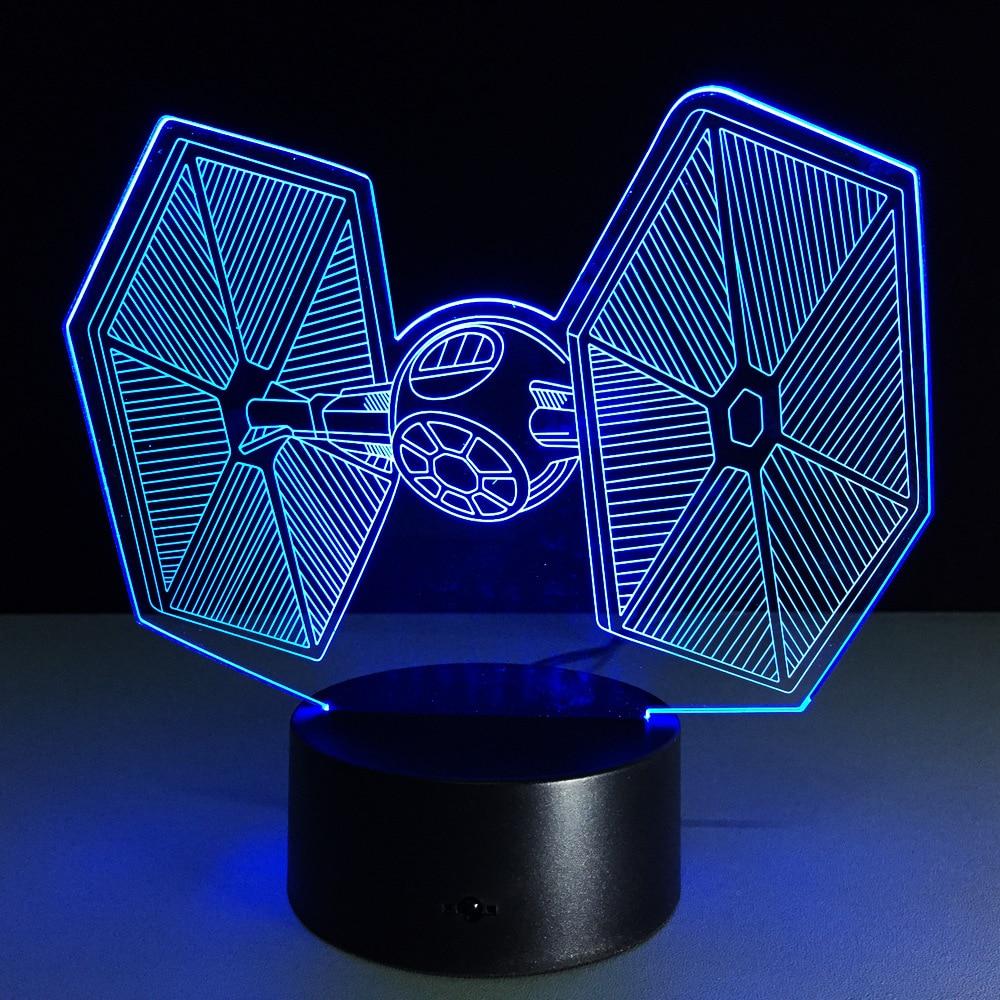 7 цветов fighter3d лампа ночник ребенок LED акрил удаленного коммутатора хрустальные светильники USB спальня гостиная свет настольная лампа
