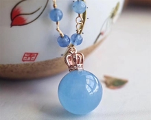 Top Quality Natural Blue Ice Aquamarine Pendant Women Man Gemstone 16mm Sphere Ball Clear Stone Fashion Necklace AAAAA
