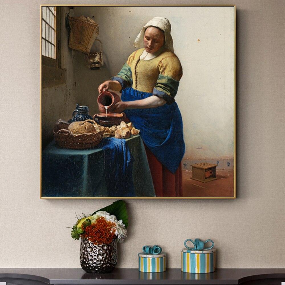 Johannes Vermeer Het Melkmeisje Wall Posters Prints European Famous Canvas Paintings