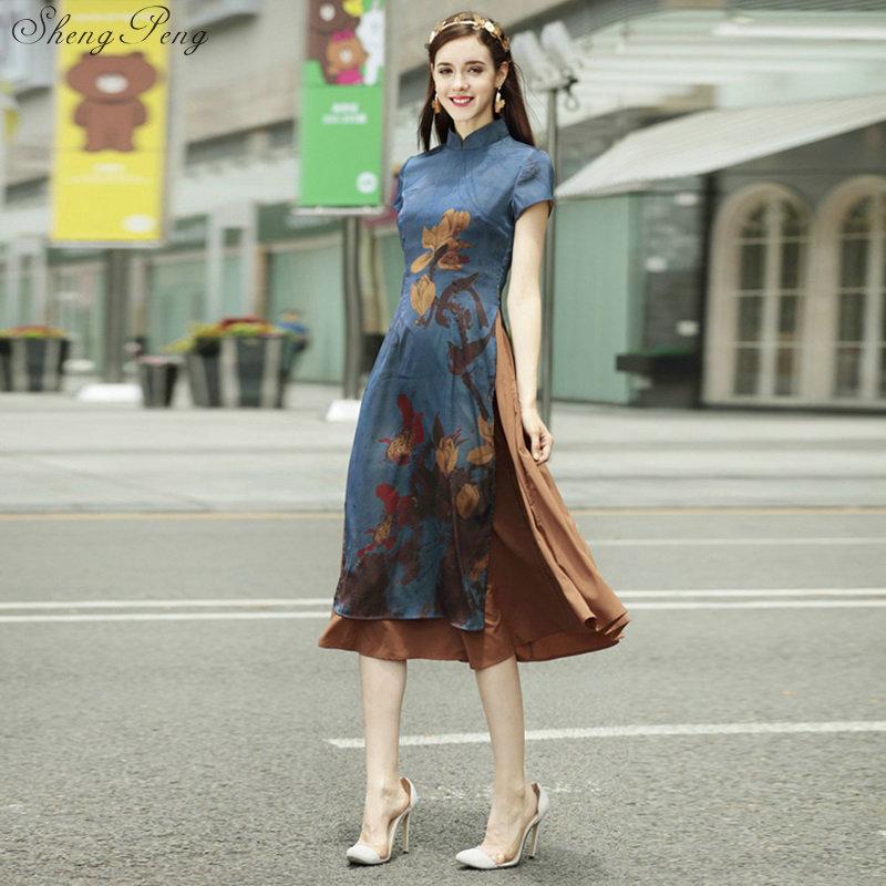 New Summer Short Sleeve Women's Satin Cheongsam Qipao Evening Dress Chinese Oriental Dress  Traditional Chinese Dress Retro V744