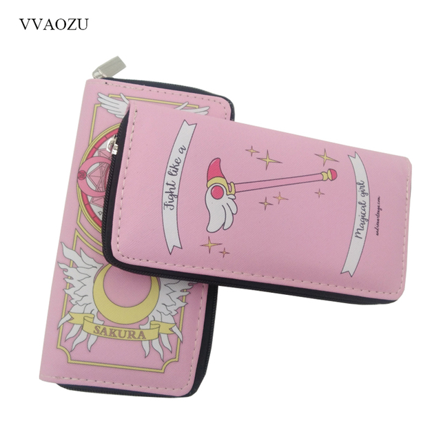 Anime Card Captor Sakura Wallet Cartoon Cardcaptor Sakura Kinomoto Long Leather Female Clutch Money Cards Zipper Cute Bags 2