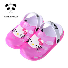 Hello Kitty Shoes 2017 Summer Beach Sandals Breathable Kids for Girl Clogs 1-7 Years Old Anti Slip Little Girls