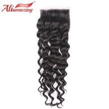 Али удивительные волосы 5x5 кружева закрытие бразильский свободная волна человеческих волос закрытия шнурка с ребенком волосы средней бесплатно три части# 1b