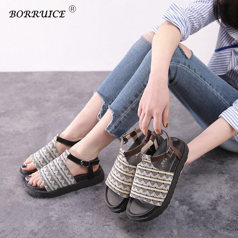 BORRUICE Summer Women Shoes 2018 Fashion Casual Roman Sandals Thick Bottom Gladiator Shoes Woman Sandals Flat Sapato Feminino