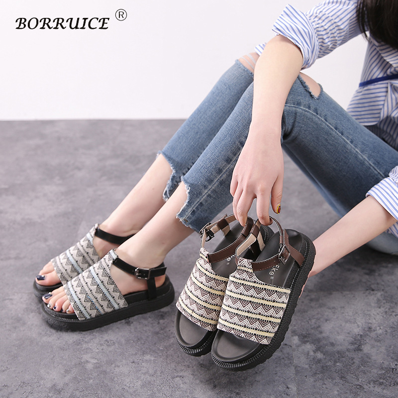 BORRUICE Summer Women Shoes 2018 Fashion Casual Roman Sandals Thick Bottom Gladiator Shoes Woman Sandals Flat Sapato Feminino