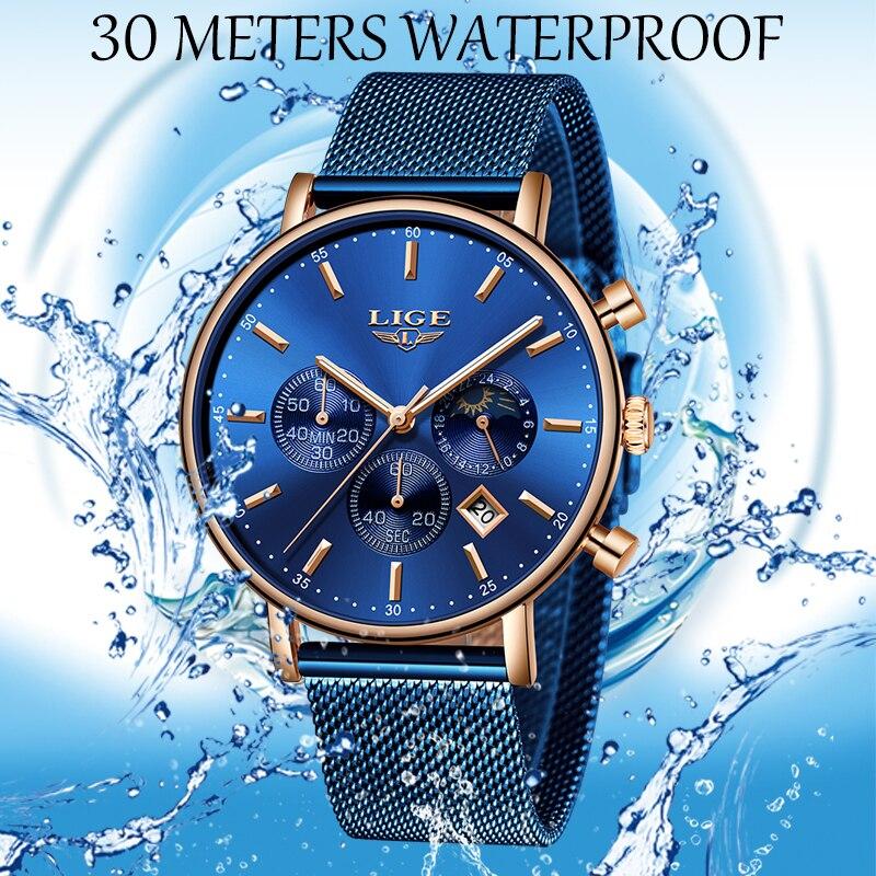 Image 4 - 2019 New Women Gift Clock LIGE Fashion Brand Quartz Wristwatch Ladies Luxury Rose Gold Watch Female Watch Women Relogio Feminino-in Women's Watches from Watches