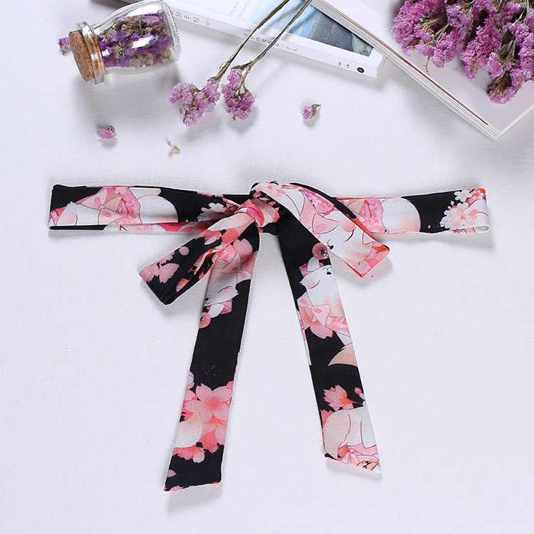 """""""Onegai Neko"""" Praying Sakura Cat Set Accessories--Waist Belt, Kimono Waist Band, Hairband"""