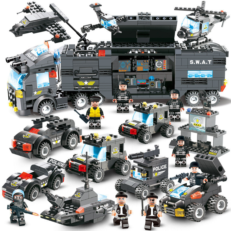 City Police Series Compatible LegoINGs 8IN1 SWAT Truck Station Building Blocks Sets Figures Bricks Educational Toys For Children 1397pcs large building blocks sets city police station anti terrorism action compatible legoingly city police toys for children