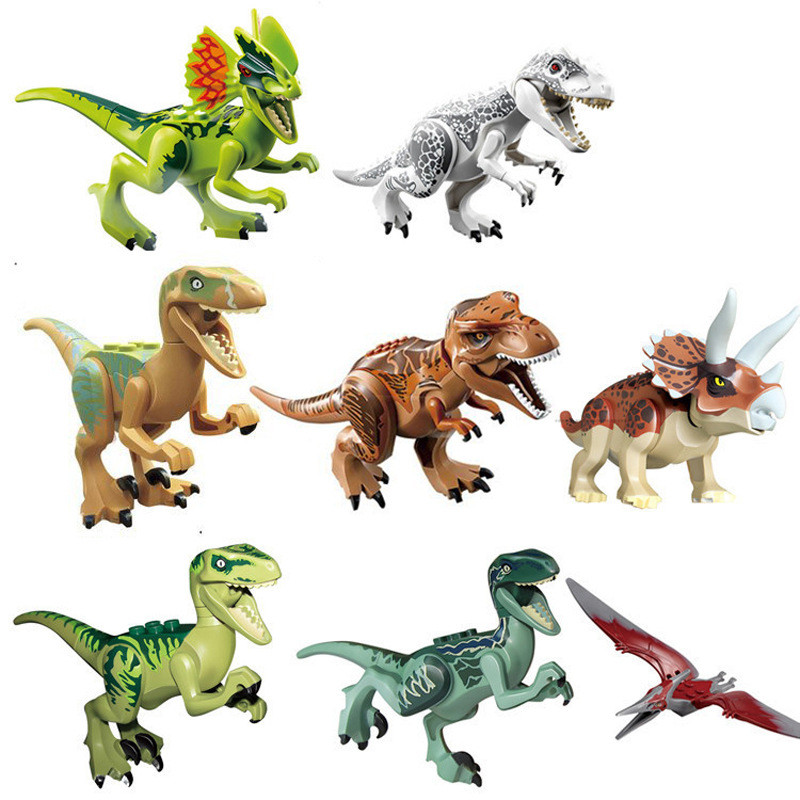 8 pcs/lot Jurassic Dinosaurs Blocks Toys Jurassic Action Figures Models Building Bricks Toys Compatible with Legoe Dinosaurs jurassic dinosaurs models plastic animal action figures toys carnotaurus stegosaurus triceratops collection gift e