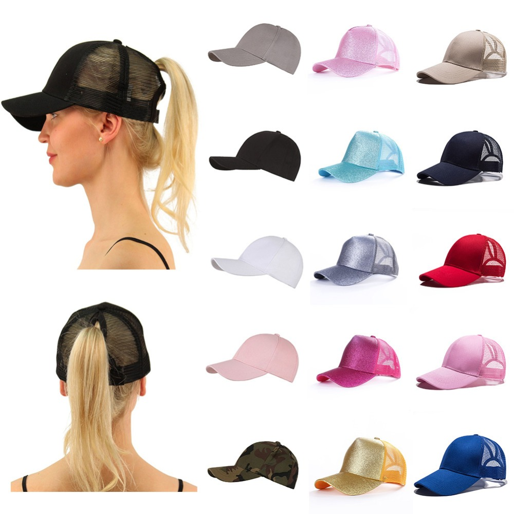 2019 Hot Sale Glitter Ponytail Baseball Cap  Adjustable Snapback Cap Dad Hats For Women Caps Messy Bun Sports Hip Hop Mesh  Hat