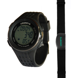 Udoarts HRM with Pedometer- Heart Rate Monitor Watch & Chest Strap 2&Pack of 5 Batteries &Screwdriver
