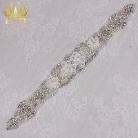 (5 stuks) groothandel Rhinestone Applicaties voor Trouwjurken Ijzer op Kristallen Steentjes Bridal Sash Riem Decoratieve Trim