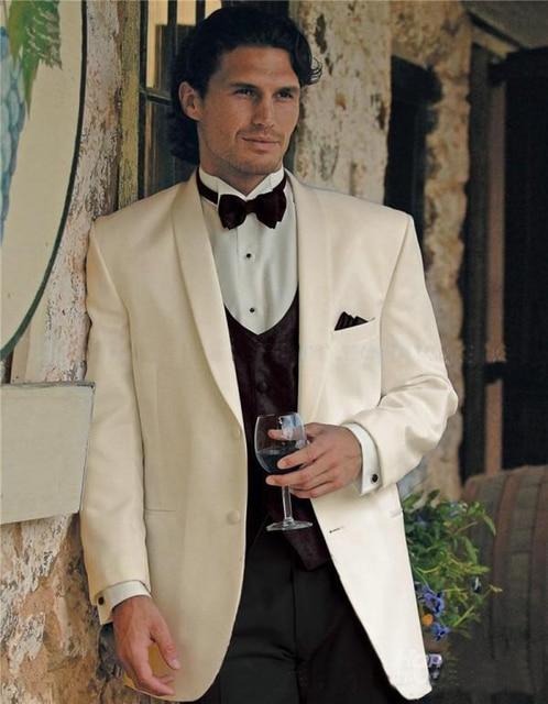 Latest Coat Pant Designs Ivory White Shawl Lapel Custom Groom ...