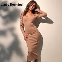 LadySymbol Off Shoulder Women Autumn Dress Long Sleeve Slim Casual Sexy Bodycon Dress Khaki Elegant Winter