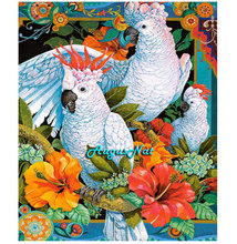 Burung Beo Lukisan Berlian Persegi Burung Dinding Seni Dekorasi Kristal Berlian Imitasi Lukisan Diamond Dotz Kit Diamond Cross Stitch DIY(China)