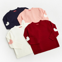 Basic Color Knitting Sweater Harajuku Korean Style Autumn Winter Women Sweaters Cute Love Round Embroidery Long