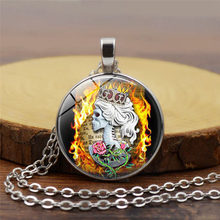 new Crown Queen Flame Skull Necklace Photo Pendant Tattoo Gothic Flower Jewelry Glass Dome Gothic Accessories(China)