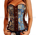 New Green Strapless Corset Burlesque Brocade&Vegan Leather  S M L XL 2XL