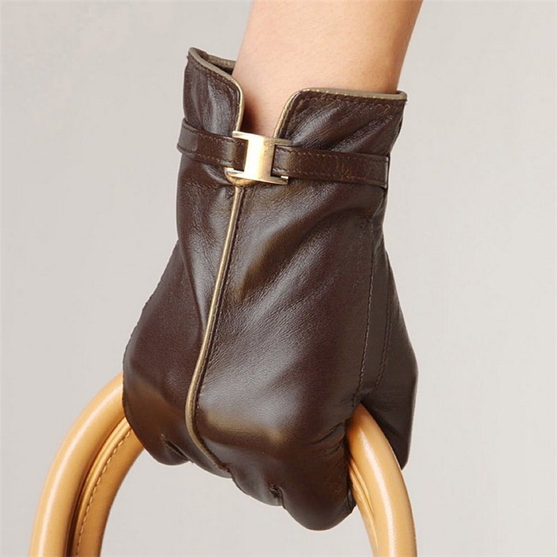 NEW 2014 winter sheepskin Genuine leather gloves womens wrist swallow-tailed black mittens L050PC