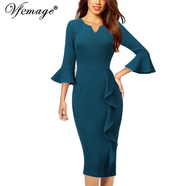 603a431c1e5 Vfemage Womens Notch V Neck Flare Bell Sleeve Ruffles Wear To Work Business  Cocktail Party Slim Fitted Bodycon Sheath Dress 1119