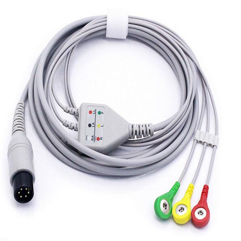 Бесплатная доставка один кусок ECG 3 Leadwire, ECG нормальный 6 Pin оснастки ECG кабель для монитора Mindray PM7000/8000 Leadwire кабель IEC. ТПУ