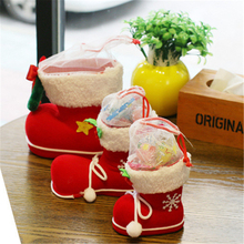 1Pcs Cloth 3Size 9-14cm Stockings Christmas Tree Holders Room Store Shop Festival Santa Claus Courtyard Decoration Kids Gift