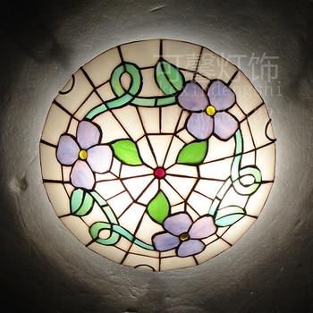 European Baroque 12  inch E27 110-240V Pastoral Ceiling Light Tiffany Round Glass Lampshade lamparas de techo abajur