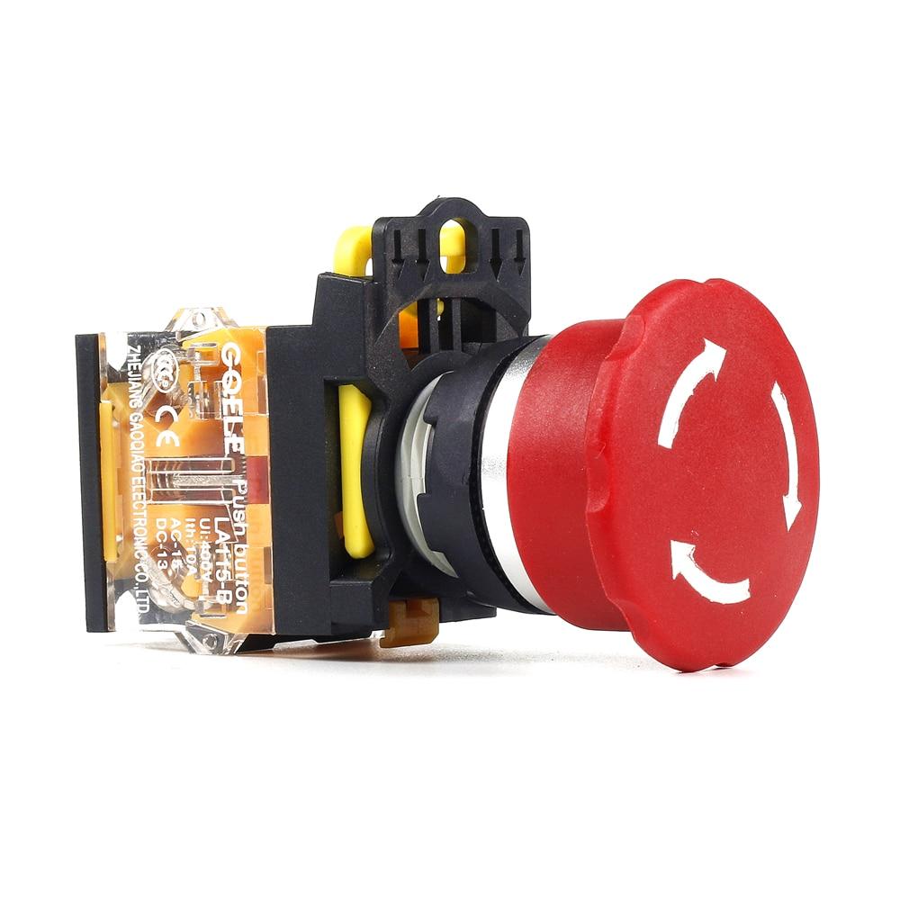 5 PCS Push button switch Emergency stop pushbutton Momentary Waterproof IP40   LA115-B1-03ZS onpow 16mm red led light 1no1nc plastic emergency stop push button switch las1 by 11tsa r 12v ip40 ce ul rohs