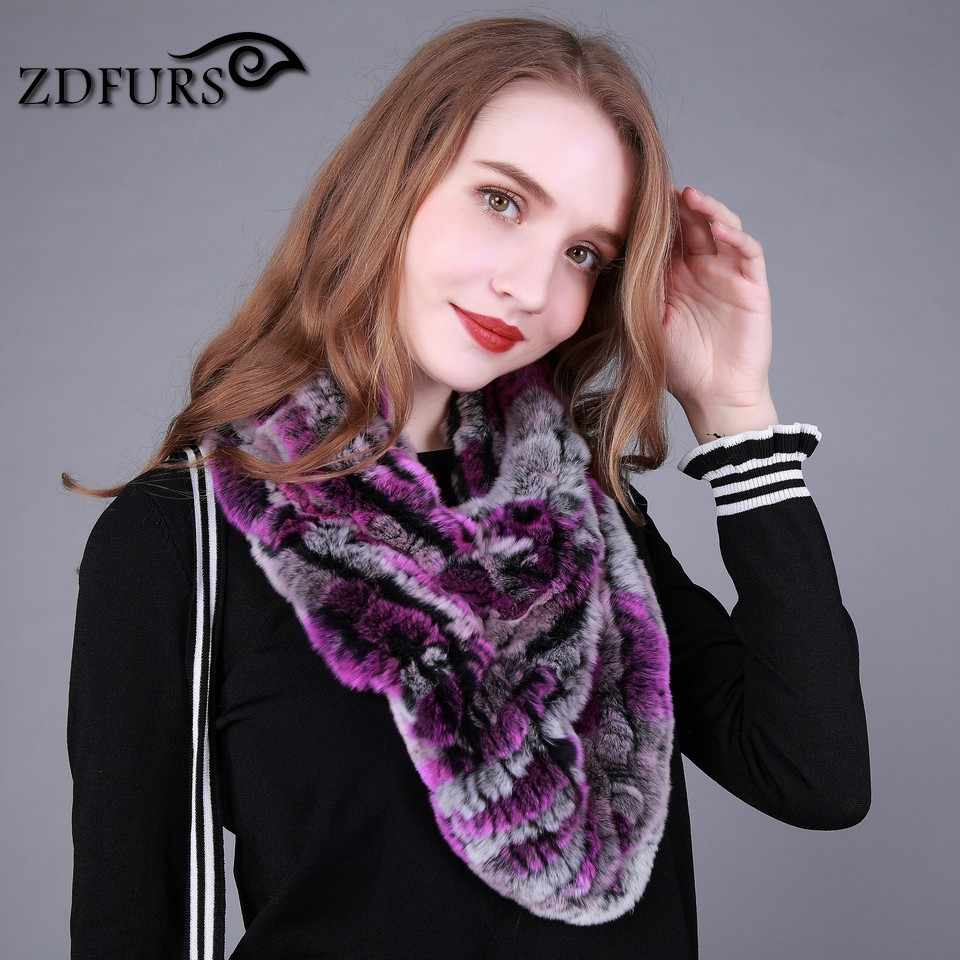 ZDFURS * リアルレックスウサギの毛皮のスカーフショールポンチョ Pashimina 女性のための自然毛皮ラップ冬ソフトマフラー女性