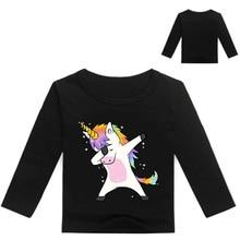 Kids T shirt unicorn tshirt boys girls long sleeve clothing top tee shirt fille enfant garcon T-shirt clothes недорго, оригинальная цена