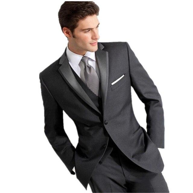 Dunkelgrau Mass Smoking Fur Manner Brautigam Anzug Herren Anzuge Mit