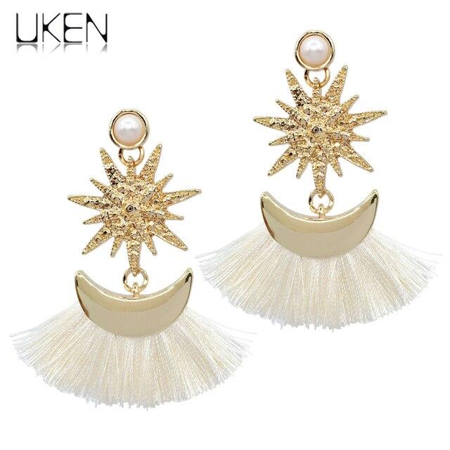 UKEN Fashion Women Star Shaped Dangle Statement Earrings Moon Pendant  Tassel Earrings Indian Eardrop Jewelry Gift e90e3741dcdb