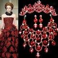 1 Unidades declaración Red Rhinestone de la CZ joyería de la boda establece mejores regalos para nupcial collar pendientes Tiara de la joyería del desfile