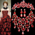 1Set Red Statement CZ Rhinestone Wedding Jewelry Sets Best Presents For Bridal  Necklace Earrings Tiara Jewelry Pageant