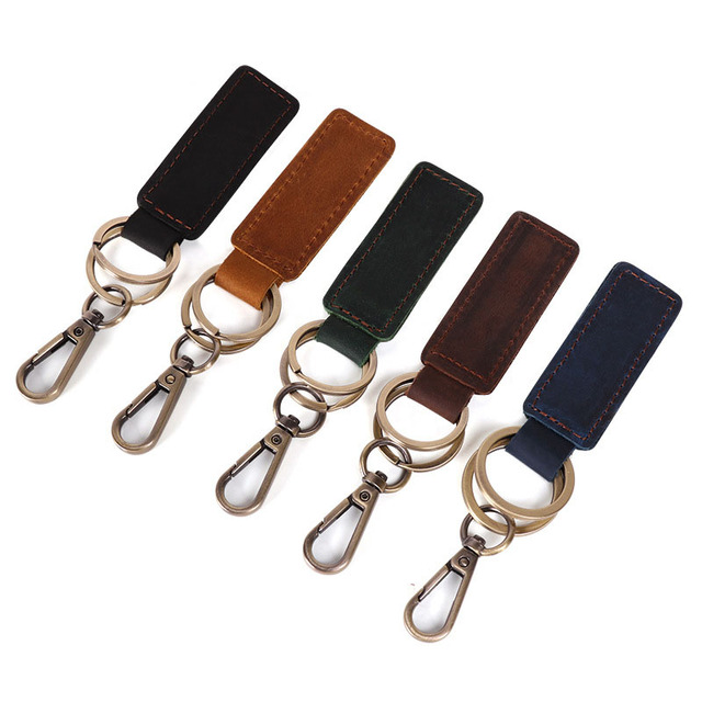 RE Personality handmade leather keyring retro vintage bronze car keychain pendant waist hanging men women jewelry gift KJ30