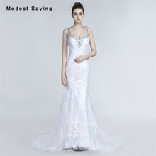 Sexy Plunging Back Mermaid Beaded Lace Wedding Dresses 2017 with Strap Formal Women Bridal Gowns vestido de noiva Custom Made