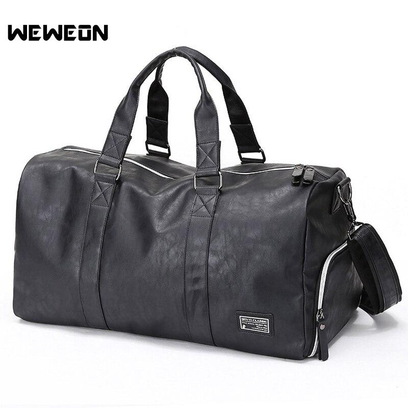 PU Men's Gym Training Bag Leather Sports Bag For Men Fitness Military Training Bag Large Leather Travel/Luggage Bag sac sport