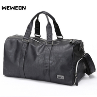 PU Men's Gym Training Bag Leather Sports Bag For Men Fitness Military Training Bag Large Leather Travel/Luggage Bag sac sport