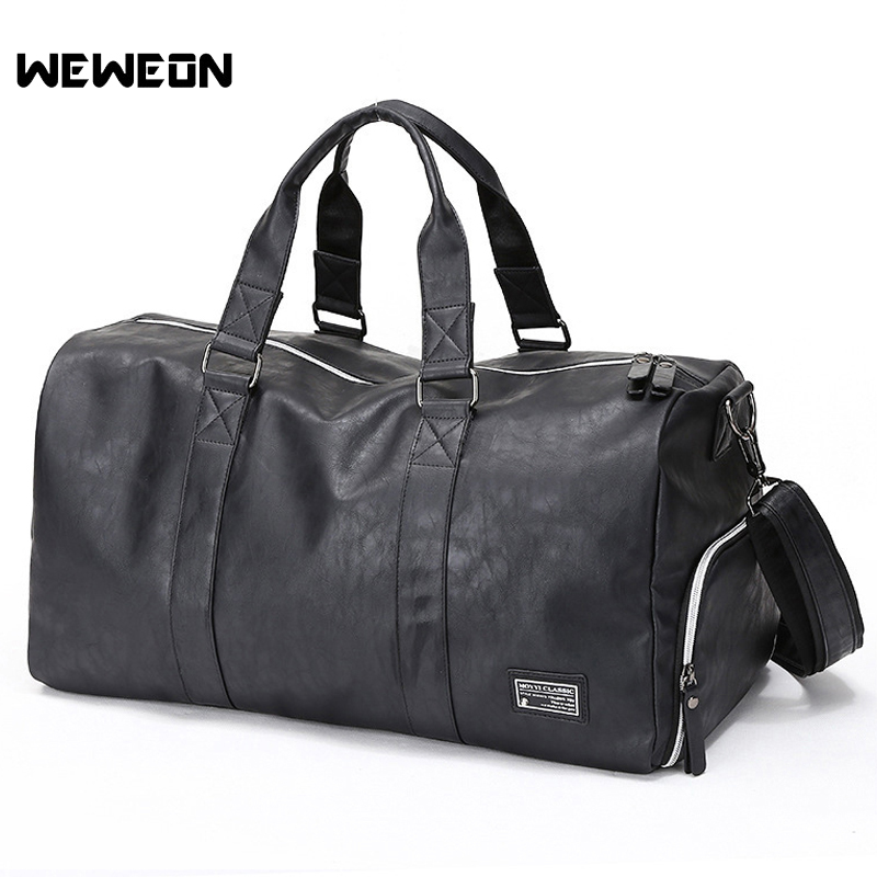 PU Men's Gym Training Bag Leather Sport Handbag with Shoes Compartment Fitness/Military Bag Muscle Man Training Travel/Luggage
