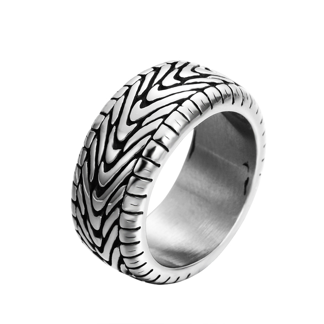 ZMZY Antique Black Vintage Gothic Punk Large Stainless Steel Biker Rings for Men