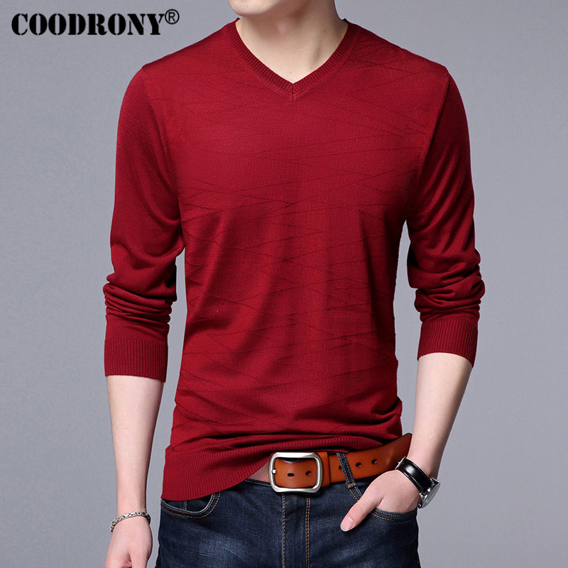 Men's Clothing ... Sweaters ... 32792237527 ... 3 ... COODRONY Knitted Wool Pullover Men Casual V-Neck Sweater Men Brand Clothing Mens Cotton Sweaters Slim Fit Pull Homme Shirts 7129 ...