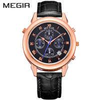 MEGIR ใหม่นาฬิกาผู้ชายกันน้ำโรมันดิจิตอลนาฬิกาข้อมือของแท้หนังผู้ชายนาฬิกาควอตซ์ชายนาฬิกา Bayan Kol Saati