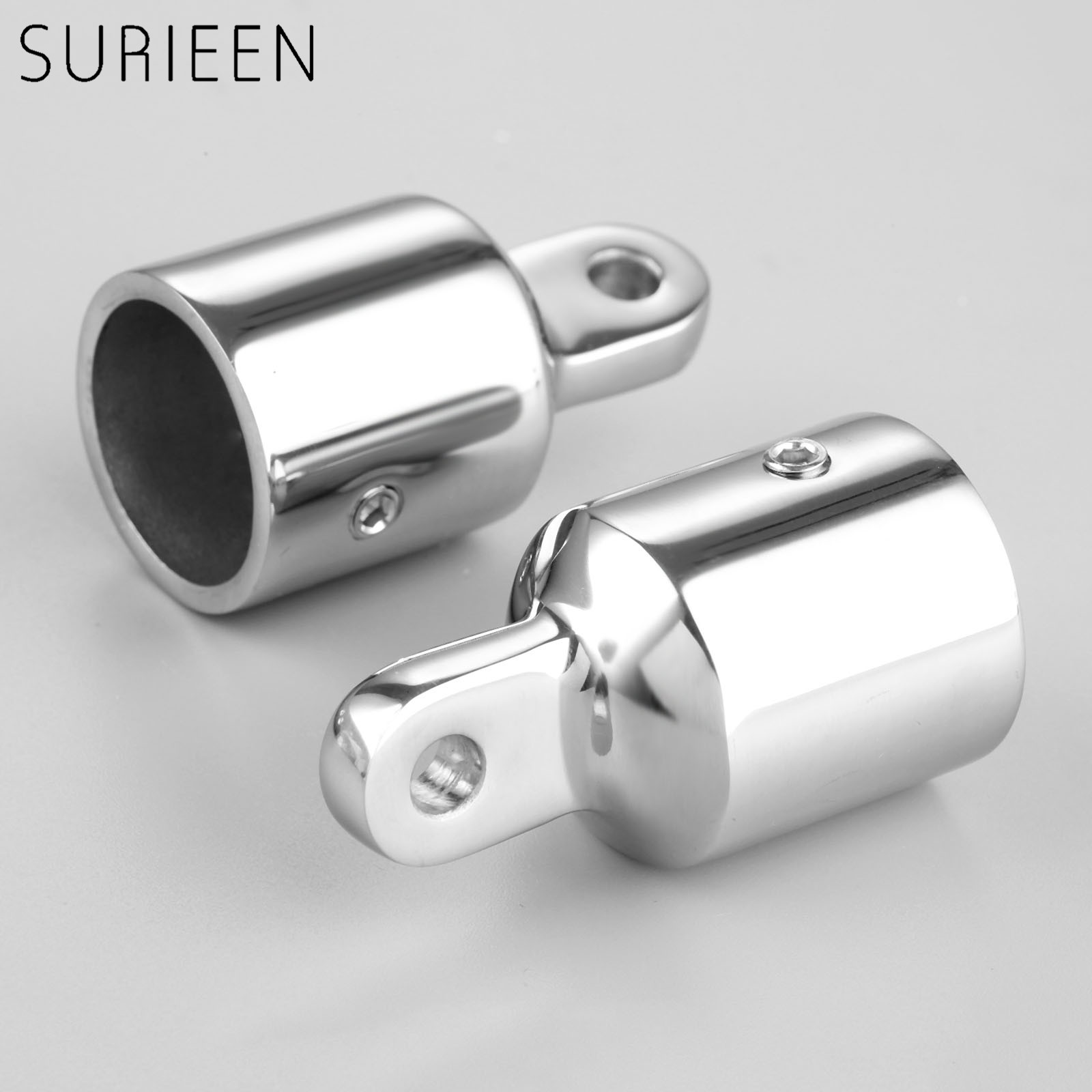 """Boat 2 Pcs Silver Hardware Marine Stainless Steel Eye End Cap for 1/"""" 25mm Pipe"""