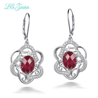 I Zuan 100 925 Sterling Silver Jewelry Drop Earrings 7 03ct Red Stone Cluster Gemstone Flower