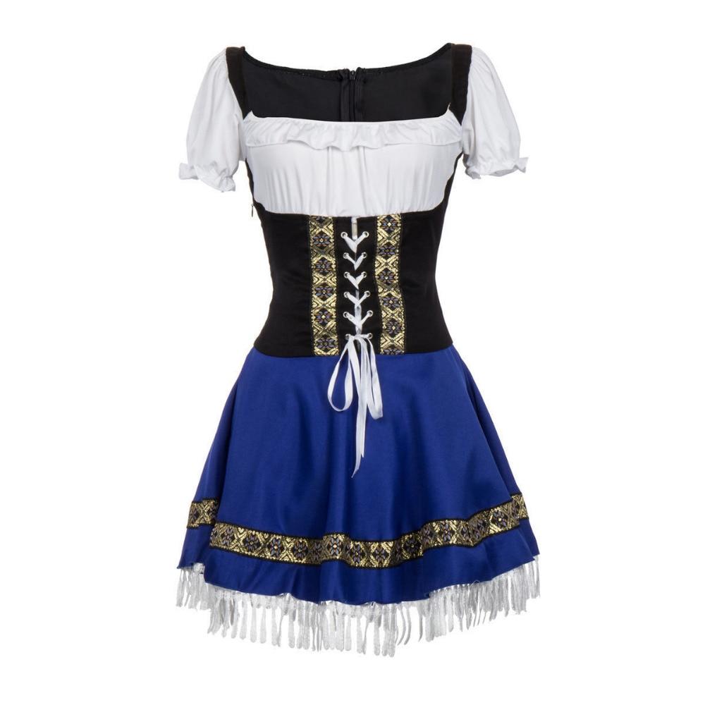 Ladies Blue Beer Maid Costume Wench German Heidi Girl Oktoberfest Gretchen Dress