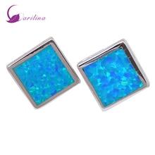hot deal buy fashion bijoux square blue opal 925 sterling silver jewelry women's earrings cute tortoise fashion jewelry e290